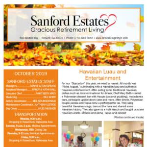 October Sanford Estates Gracious Retirement Living Newsletter