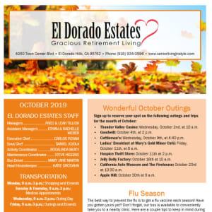 October El Dorado Estates Gracious Retirement Living Newsletter