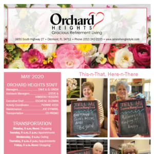May Orchard Heights Gracious Retirement Living newsletter