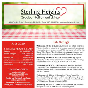July Sterling Heights Gracious Retirement Living Newsletter