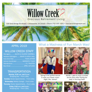 April Willow Creek Gracious Retirement Living Newsletter