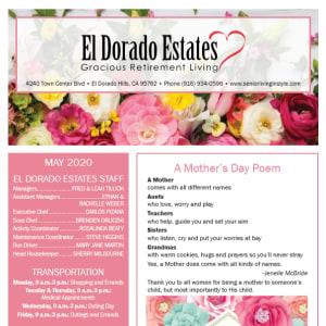 May El Dorado Estates Gracious Retirement Living Newsletter