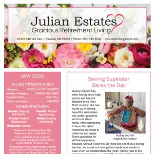 May Julian Estates Gracious Retirement Living newsletter