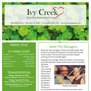 March  Ivy Creek Gracious Retirement Living Newsletter