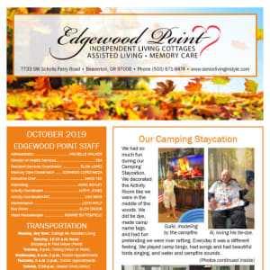 OctoberEdgewood Point Assisted Living Newsletter
