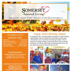 October Somerset Assisted Living Newsletter