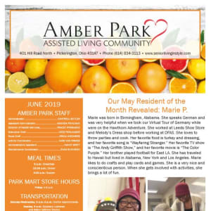 June Amber Park Newsletter