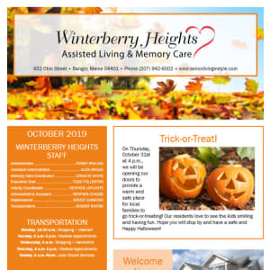 October Winterberry Heights Assisted Living Newsletter