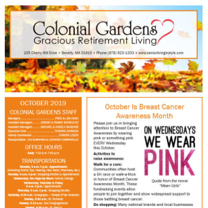 October Colonial Gardens Gracious Retirement Living Newsletter