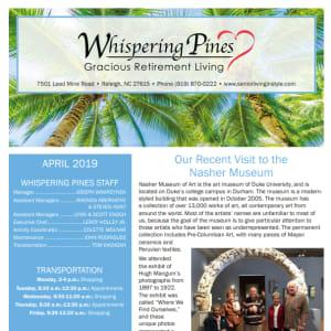 April Whispering Pines Gracious Retirement Living Newsletter