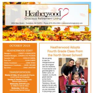 October Heatherwood Gracious Retirement Living newsletter