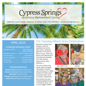 April Cypress Springs Gracious Retirement Living Newsletter
