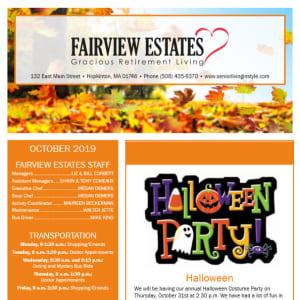 October Fairview Estates Gracious Retirement Living Newsletter