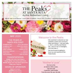 May The Peaks at Santa Rita newsletter