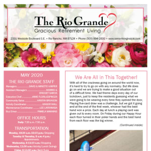 May The Rio Grande Gracious Retirement Living newsletter