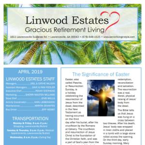 April Linwood Estates Gracious Retirement Living Newsletter