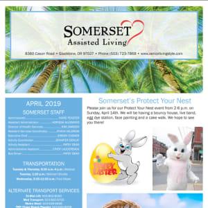 April Somerset Assisted Living Newsletter