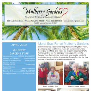 April Mulberry Gardens Assisted Living Newsletter