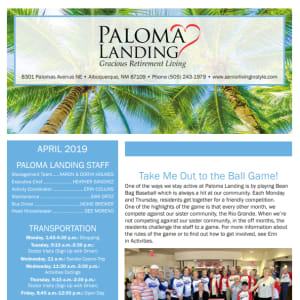 April Paloma Landing Retirement Community Newsletter