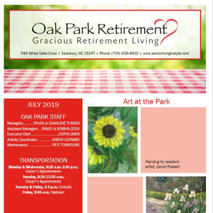 July Oak Park Retirement Newsletter