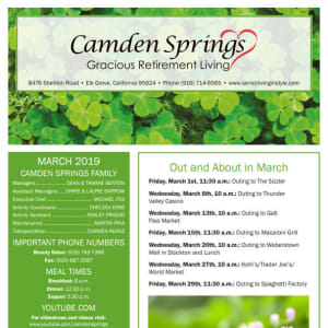 March Camden Springs Gracious Retirement Living Newsletter