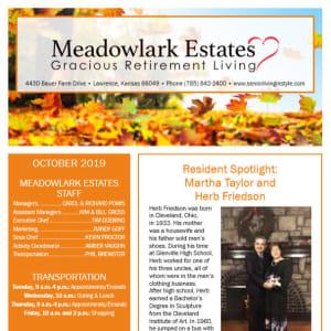October Meadowlark Estates Gracious Retirement Living Newsletter
