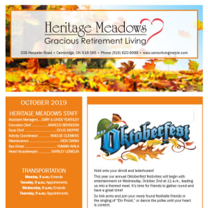 October Heritage Meadows Gracious Retirement Living Newsletter