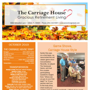 October The Carriage House Gracious Retirement Living Newsletter
