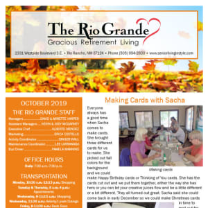 October The Rio Grande Gracious Retirement Living Newsletter