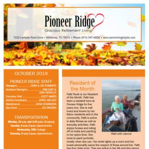 October Pioneer Ridge Gracious Retirement Living Newsletter