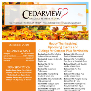 October Cedarview Gracious Retirement Living Newsletter
