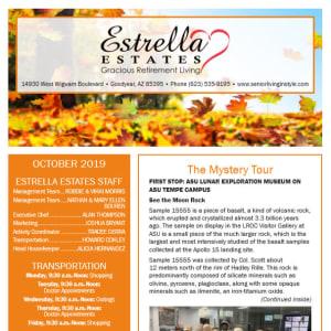 October Estrella Estates Gracious Retirement Living Newsletter