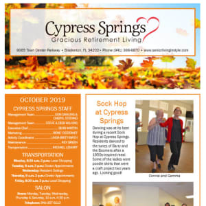 October Cypress Springs Gracious Retirement Living Newsletter