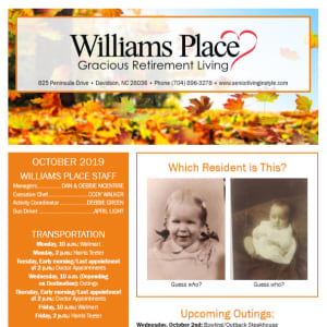 October Williams Place Gracious Retirement Living Newsletter