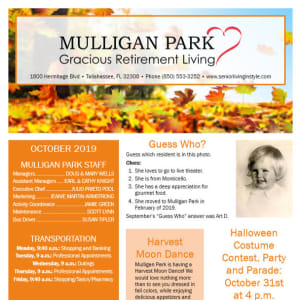 October Mulligan Park Gracious Retirement Living Newsletter