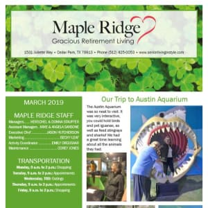 March Maple Ridge Gracious Retirement Living Newsletter