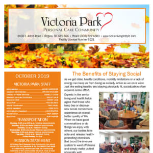 October Victoria Park Personal Care Home Newsletter