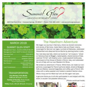 March Summit Glen Newsletter