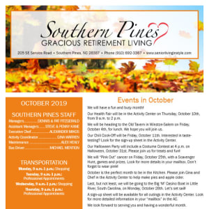 October Southern Pines Gracious Retirement Living Newsletter