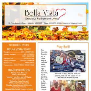 October newsletter at BellaVista Gracious Retirement Living in Asheville, North Carolina
