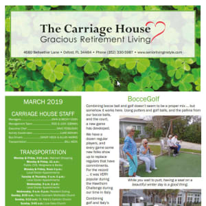 March The Carriage House Gracious Retirement Living Newsletter