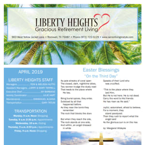 April Liberty Heights Gracious Retirement Living Newsletter