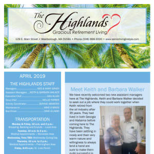 April The Highlands Gracious Retirement Living Newsletter