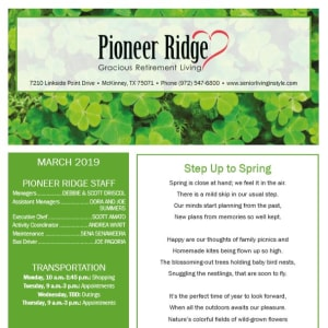 March Pioneer Ridge Gracious Retirement Living Newsletter
