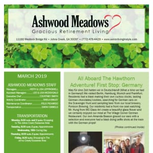 March newsletter at Ashwood Meadows Gracious Retirement Living in Johns Creek, Georgia
