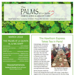 March The Palms at La Quinta Assisted Living and Memory Care Newsletter