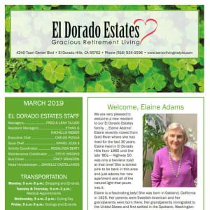 March El Dorado Estates Gracious Retirement Living Newsletter