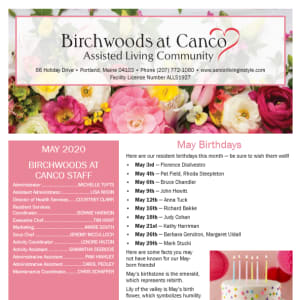 May Birchwoods at Canco Assisted Living newsletter