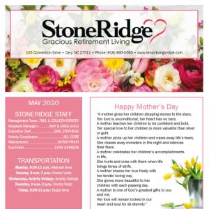 May Stoneridge Gracious Retirement Living newsletter
