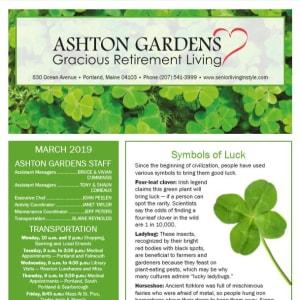 March Ashton Gardens Gracious Retirement Living Newsletter